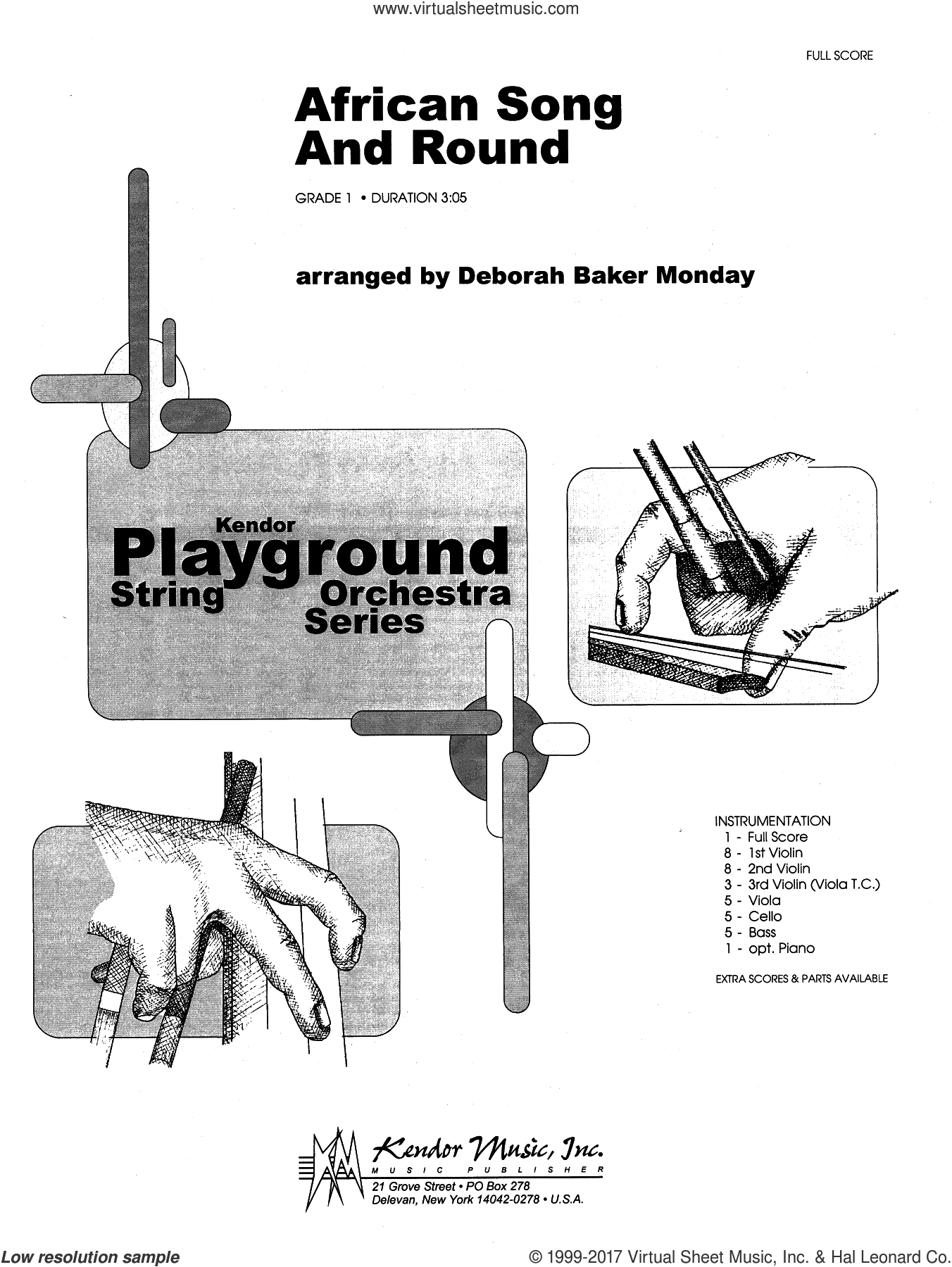 African Song And Round (COMPLETE) sheet music for orchestra by Deborah Baker Monday, intermediate skill level