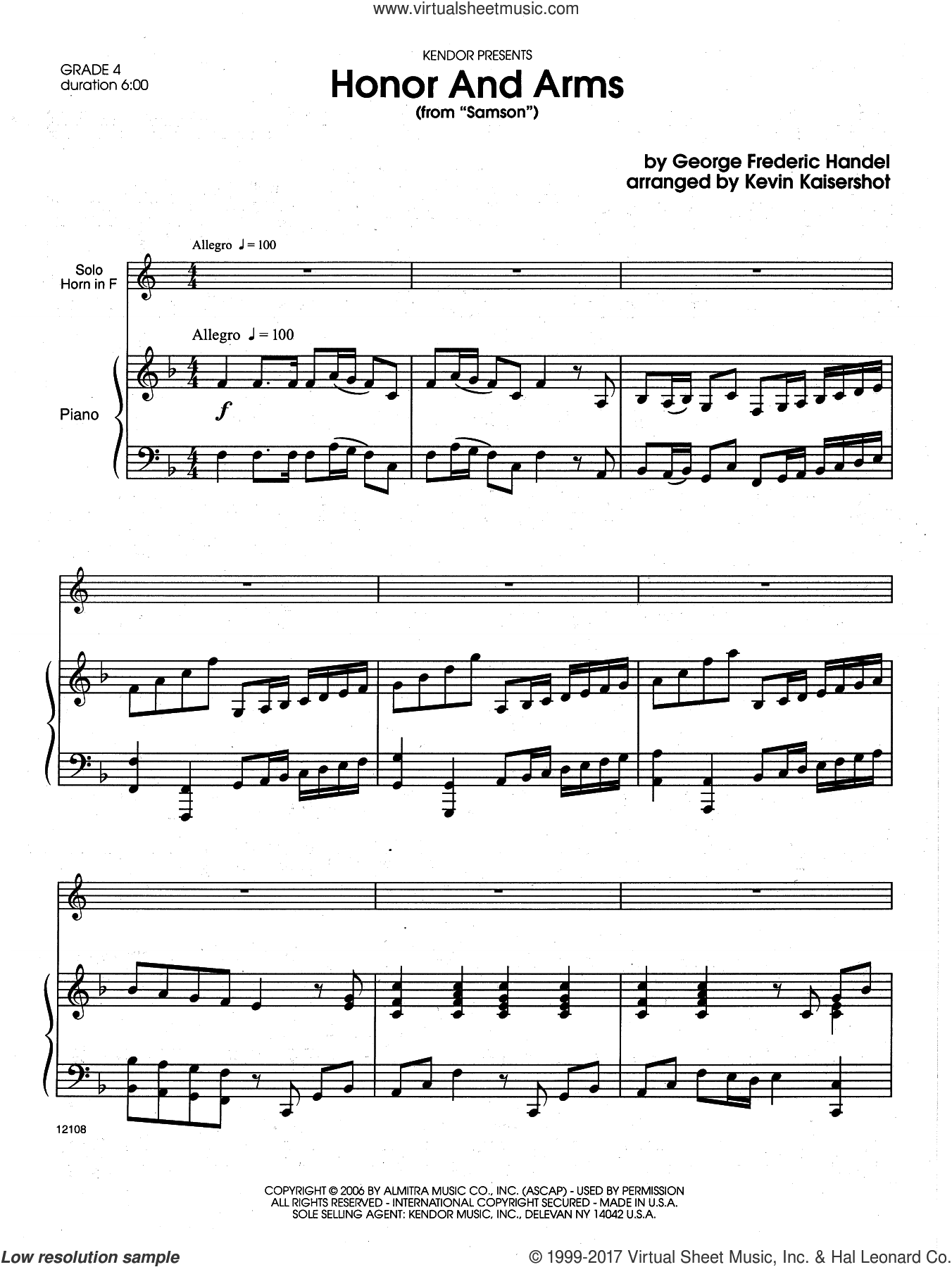 Honor And Arms (from Samson) (complete set of parts) sheet music for horn and piano by George Frideric Handel and Kevin Kaisershot, intermediate. Score Image Preview.