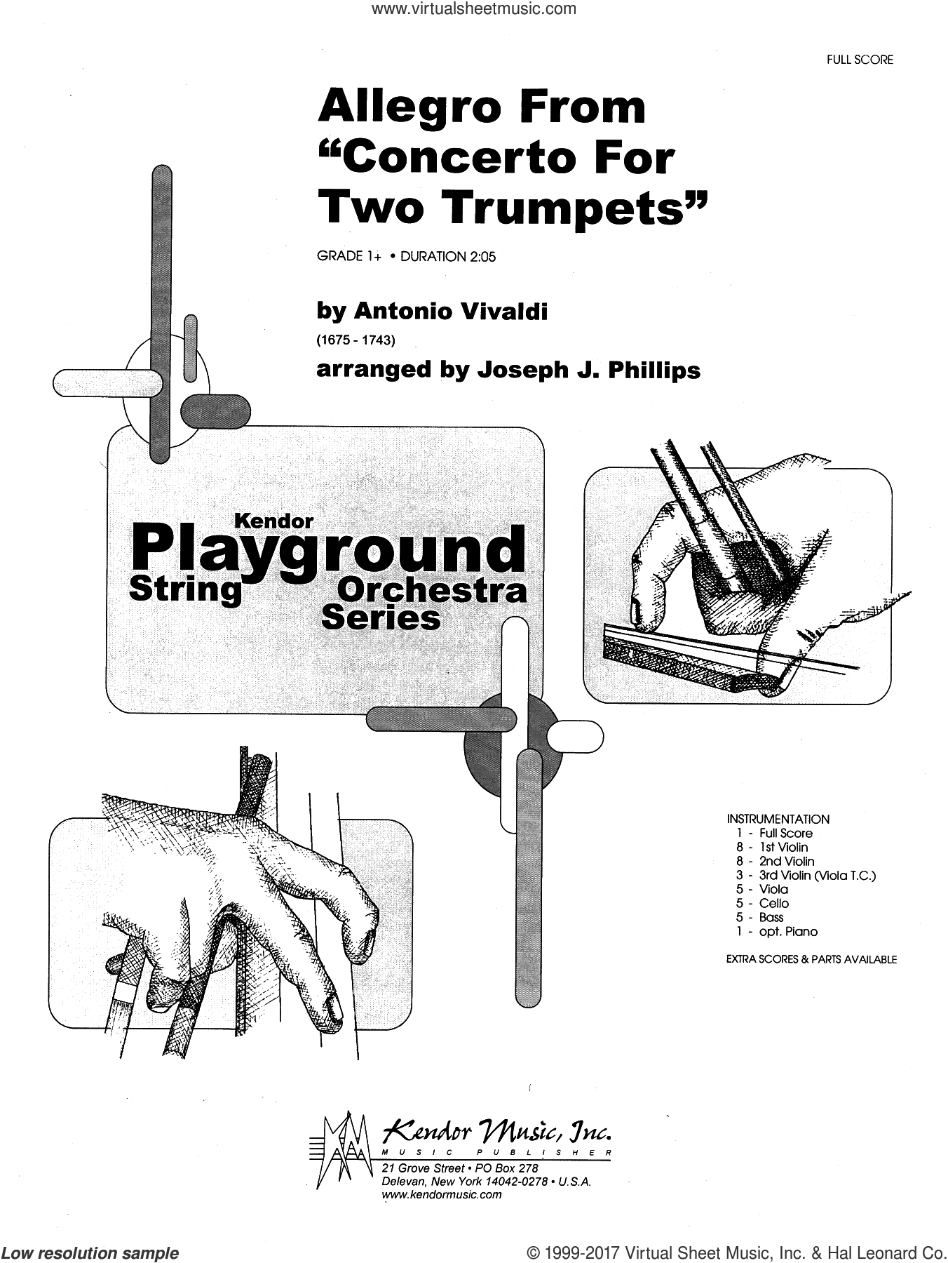 Allegro From 'Concerto For Two Trumpets' (COMPLETE) sheet music for orchestra by Antonio Vivaldi and Joseph J. Phillips, intermediate skill level