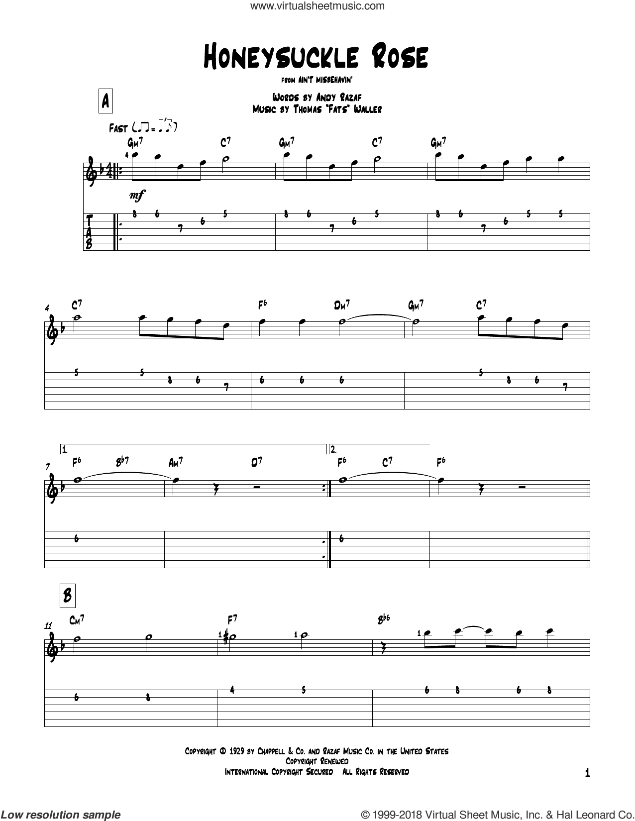 Honeysuckle Rose sheet music for guitar solo by Django Reinhardt, Andy Razaf and Thomas Waller. Score Image Preview.