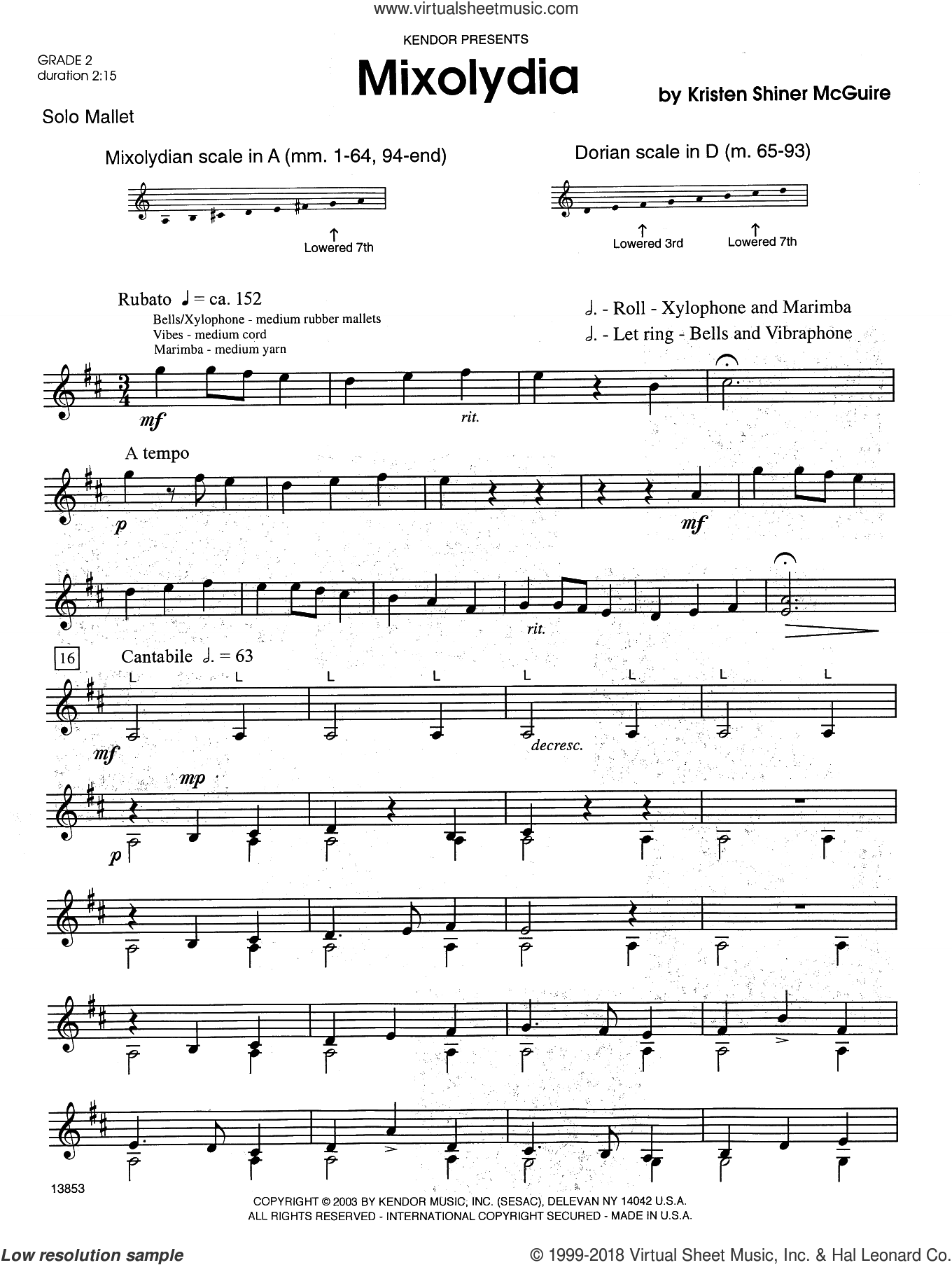 Mixolydia sheet music for percussions by Kristen Shiner McGuire. Score Image Preview.