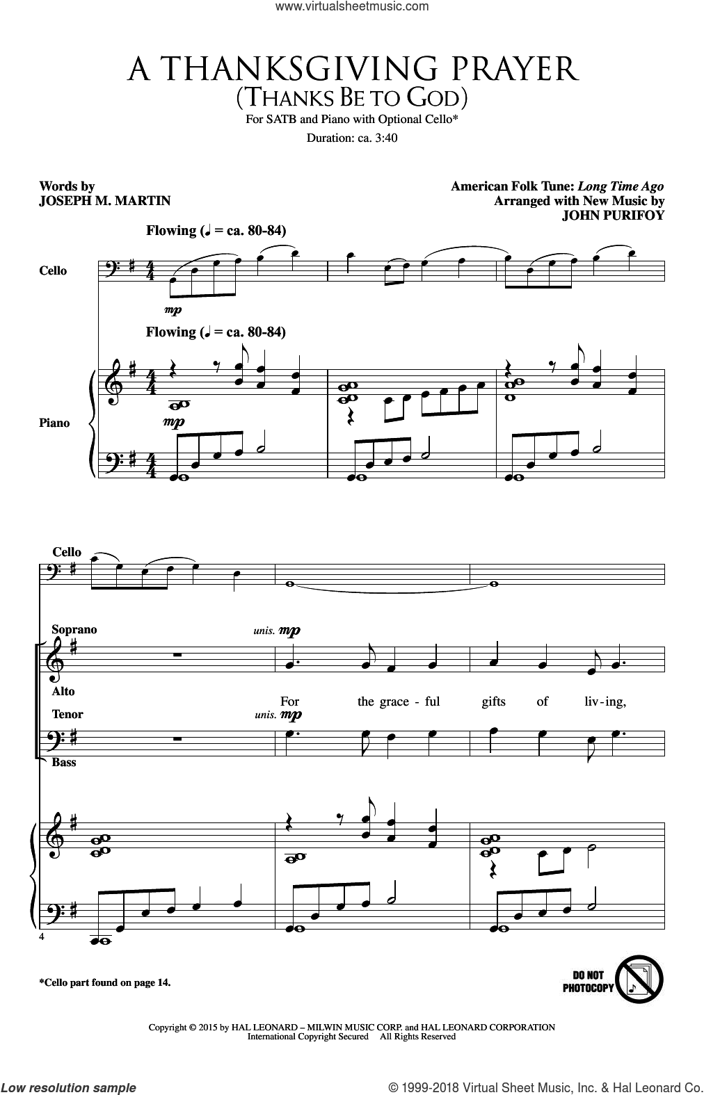 A Thanksgiving Prayer (Thanks Be To God) sheet music for choir (SATB: soprano, alto, tenor, bass) by Joseph M. Martin and John Purifoy, intermediate skill level