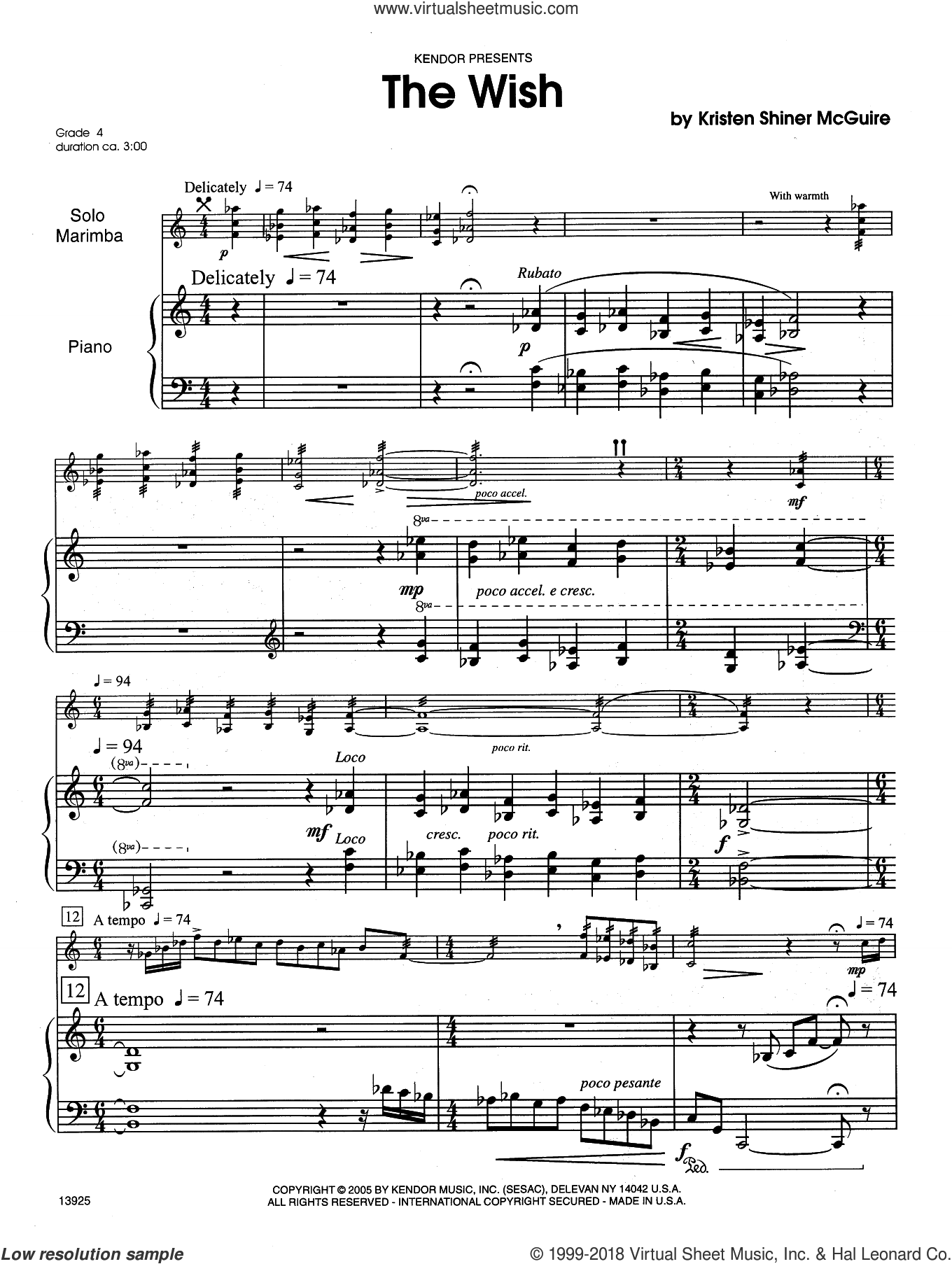 The Wish sheet music for percussions by Kristen Shiner McGuire, intermediate skill level