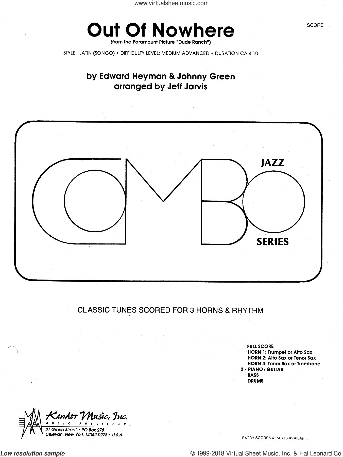 Out Of Nowhere (From The Paramount Picture Dude Ranch) (COMPLETE) sheet music for jazz band by Jeff Jarvis and Heyman & Green, intermediate skill level