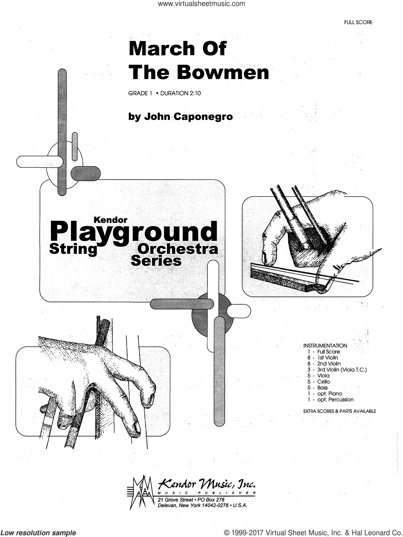 March Of The Bowmen (COMPLETE) sheet music for orchestra by John Caponegro, intermediate. Score Image Preview.