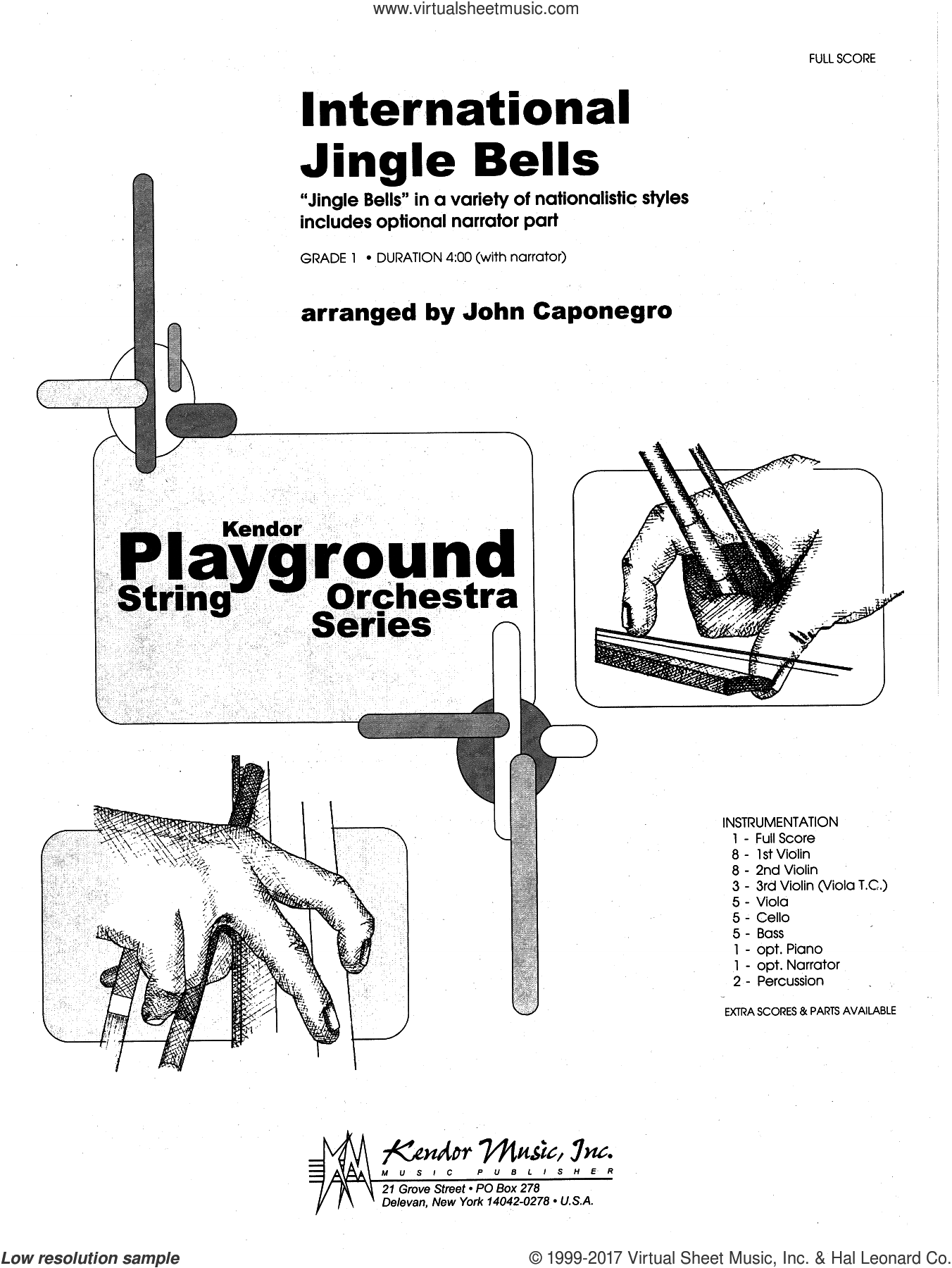 International Jingle Bells (COMPLETE) sheet music for orchestra by John Caponegro, intermediate