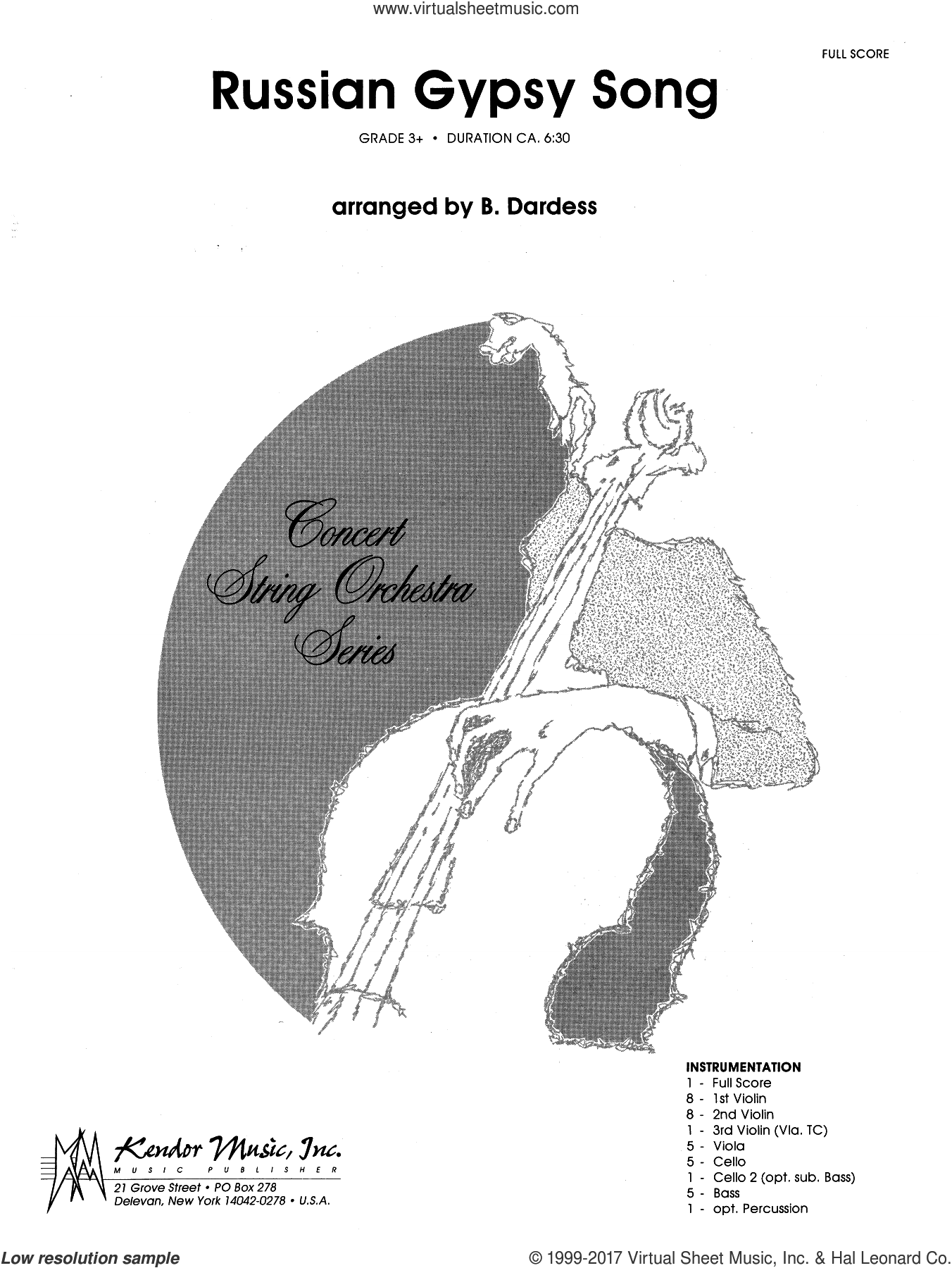 Russian Gypsy Song (COMPLETE) sheet music for orchestra by Betty Dardess, intermediate skill level