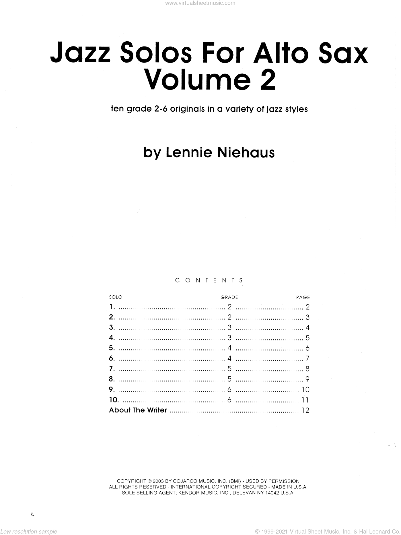 Jazz Solos For Alto Sax, Volume 2 sheet music for alto saxophone solo by Lennie Niehaus, intermediate skill level