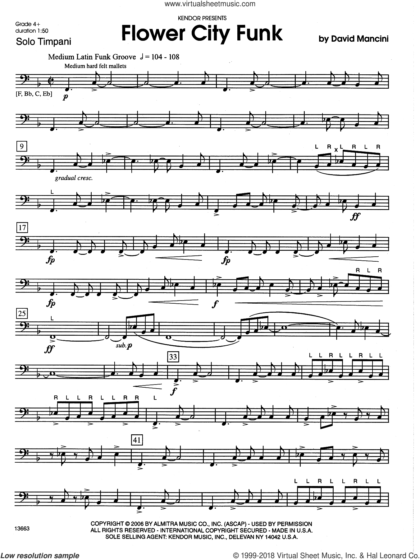 Flower City Funk sheet music for percussions by Dave Mancini, intermediate percussions. Score Image Preview.