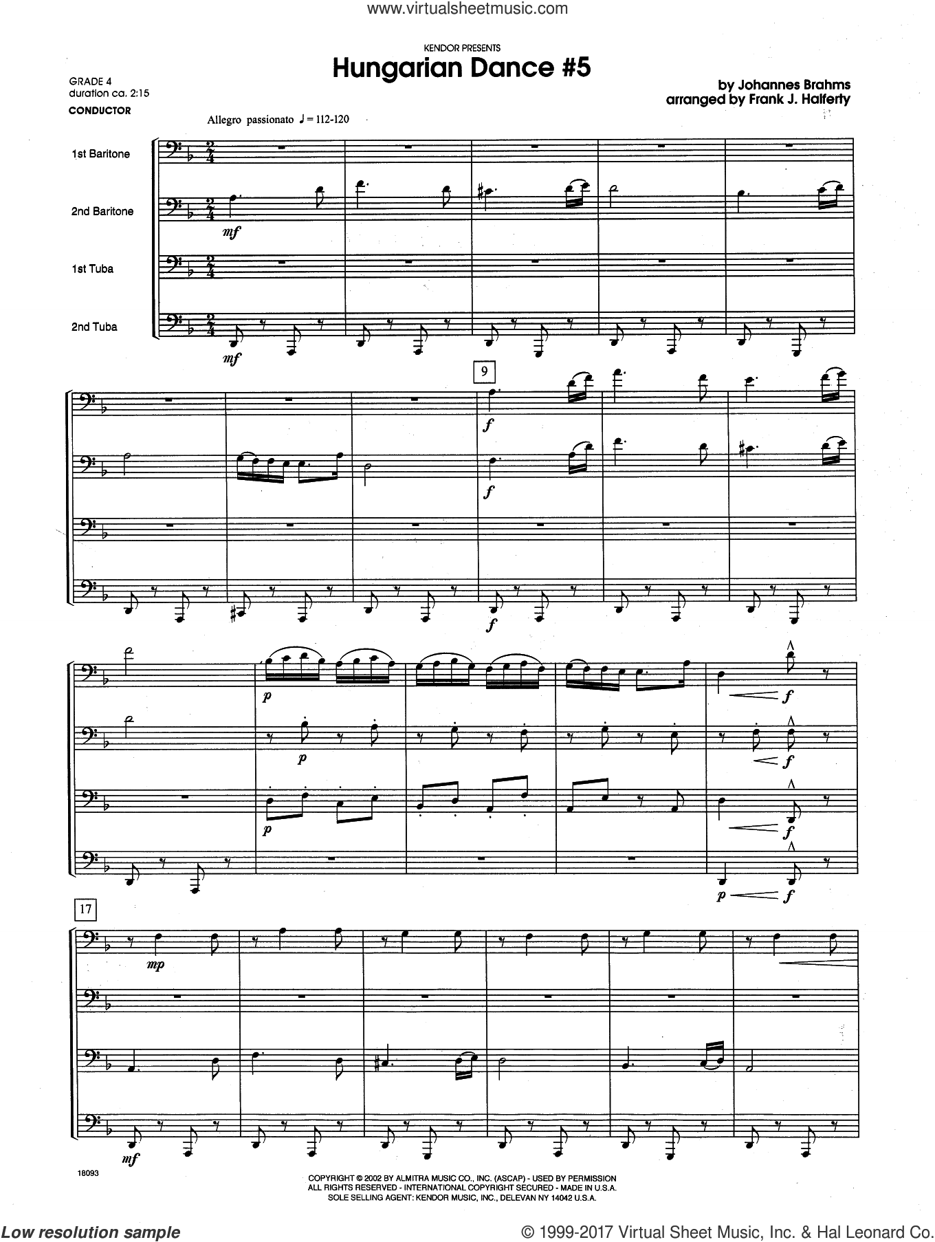 Hungarian Dance #5 (COMPLETE) sheet music for brass quartet by Johannes Brahms and Frank J. Halferty. Score Image Preview.