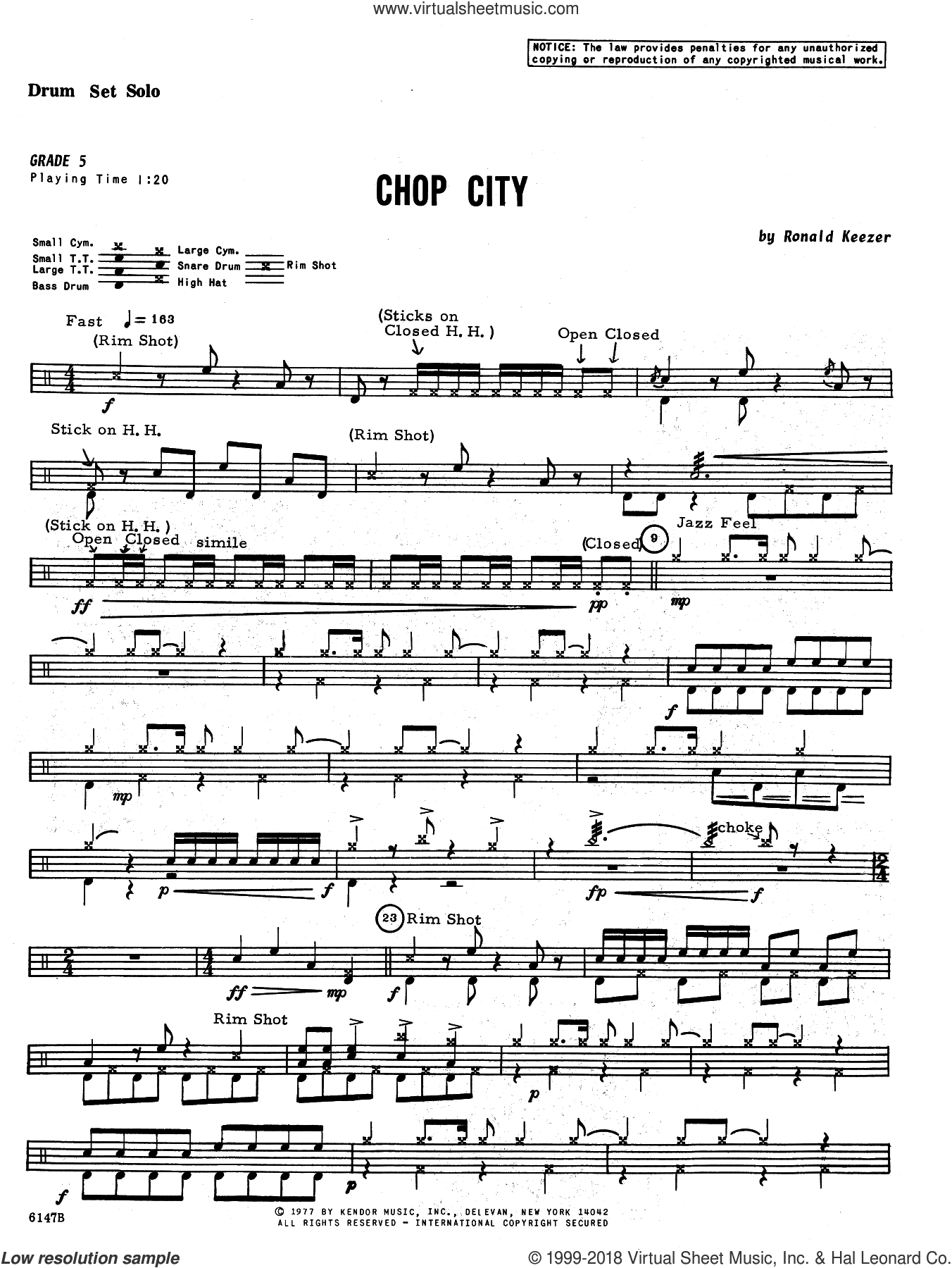 Chop City sheet music for percussions by Keezer, intermediate skill level