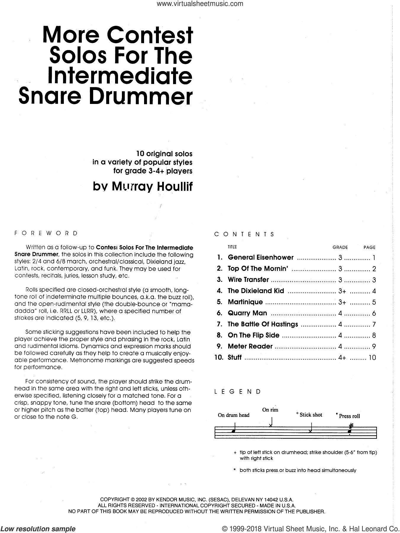 More Contest Solos For The Intermediate Snare Drummer sheet music for percussions by Houllif. Score Image Preview.