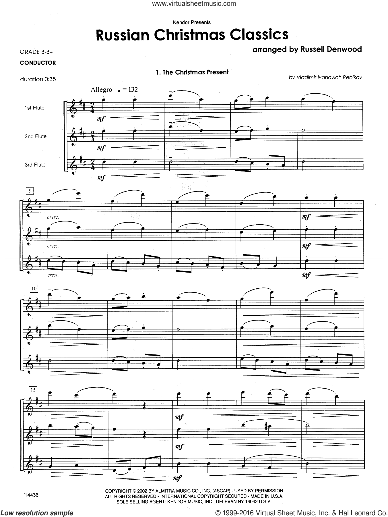 Russian Christmas Classics (COMPLETE) sheet music for flute trio by Russell Denwood. Score Image Preview.