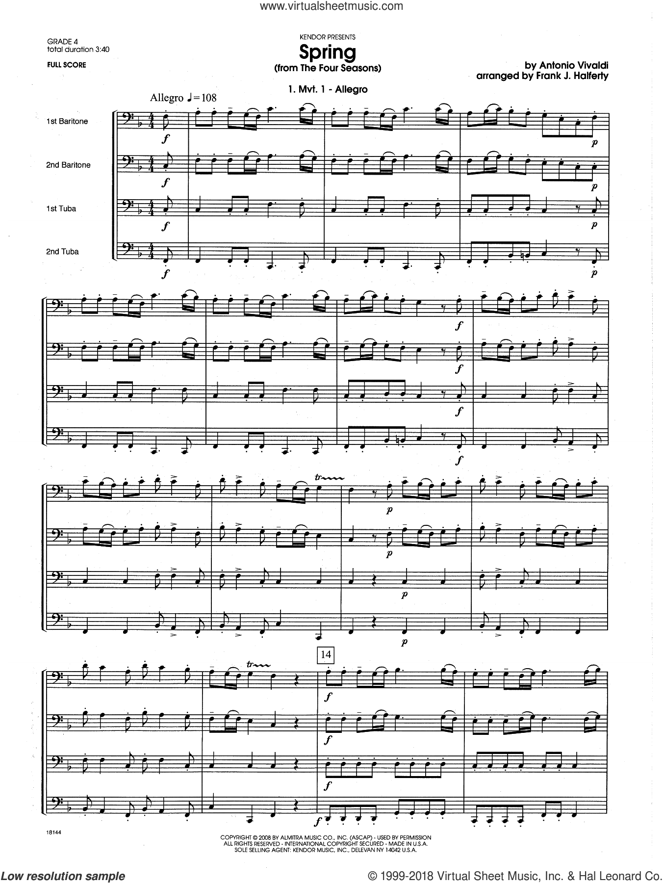 Spring (from The Four Seasons) sheet music for brass quartet (full score) by Antonio Vivaldi and Frank J. Halferty, classical score, intermediate. Score Image Preview.