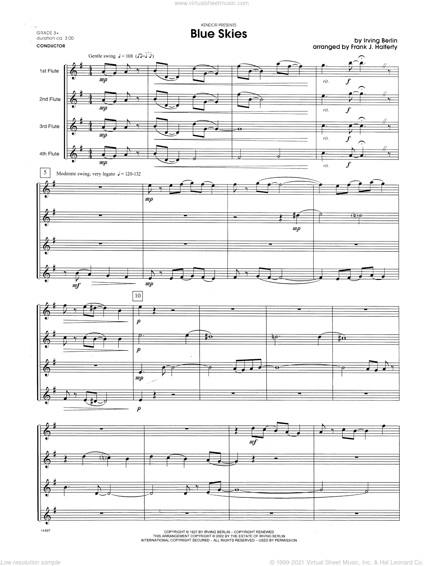 Blue Skies sheet music for flute quartet (full score) by Berlin and Frank J. Halferty. Score Image Preview.
