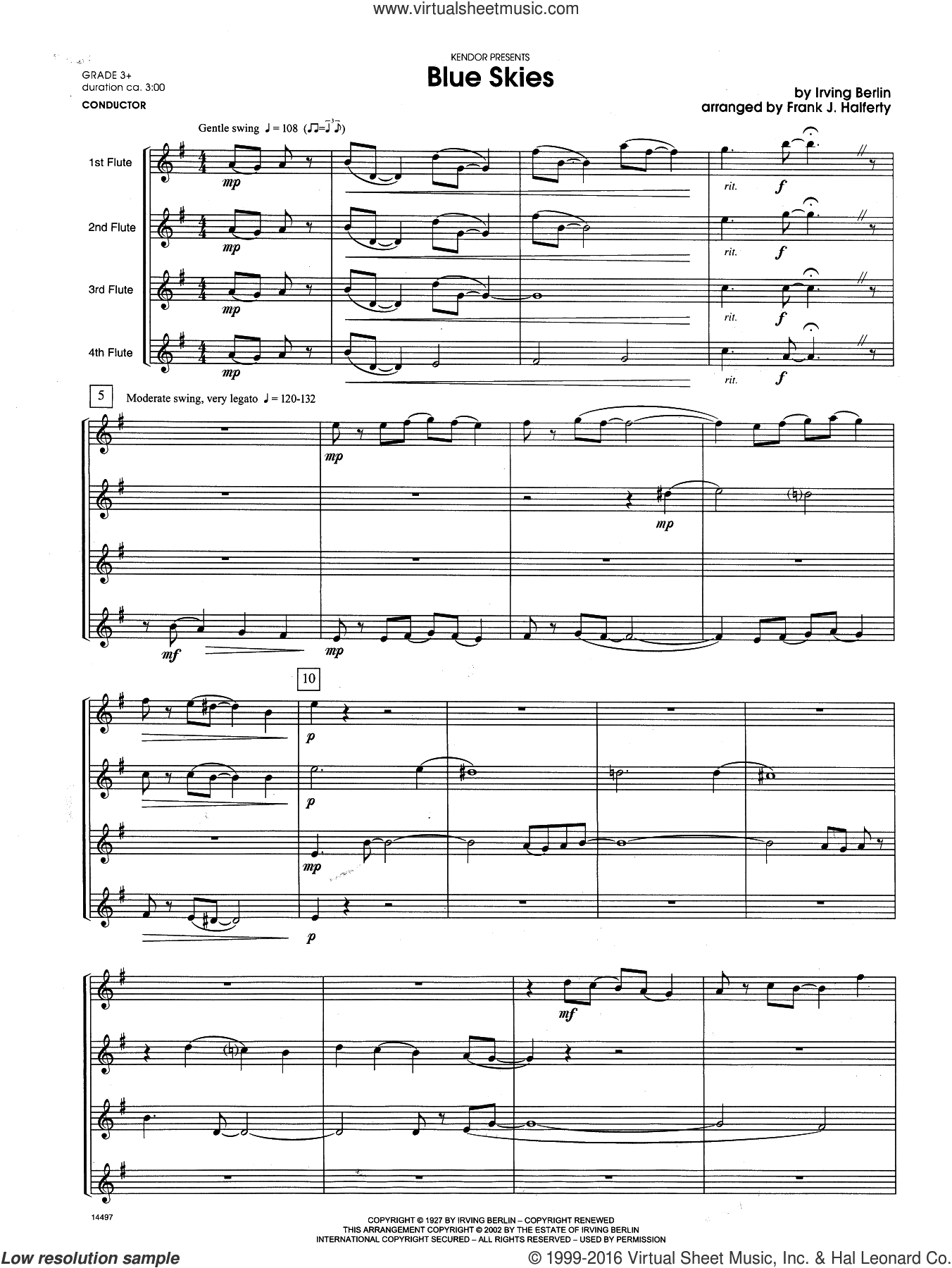 Blue Skies (COMPLETE) sheet music for flute quartet by Berlin and Frank J. Halferty, intermediate. Score Image Preview.