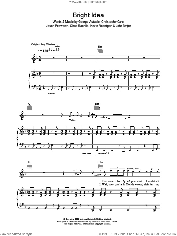Bright Idea sheet music for voice, piano or guitar by Kevin Roentgen