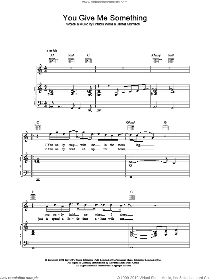 You Give Me Something sheet music for voice, piano or guitar by James Morrison. Score Image Preview.