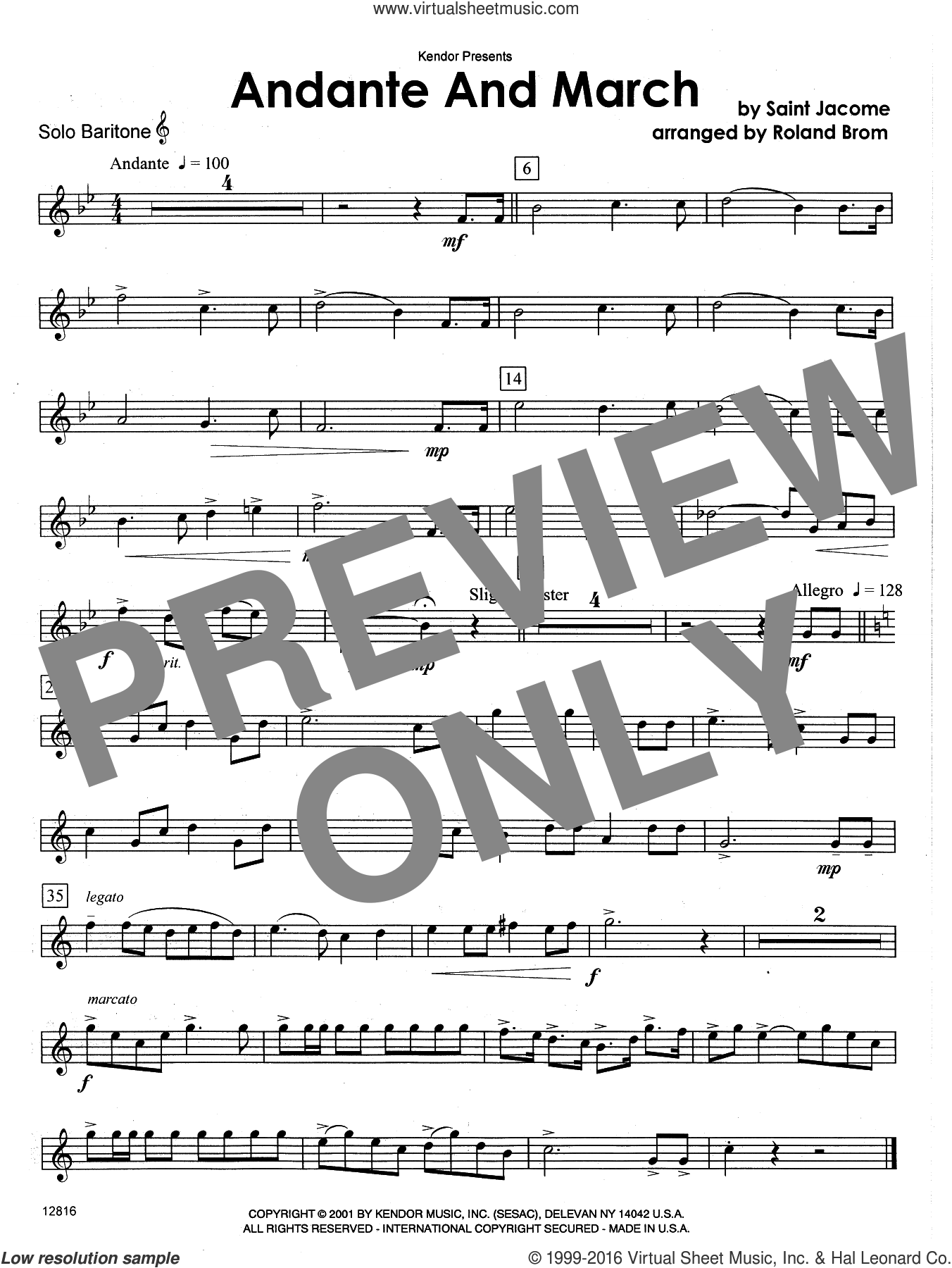 Andante And March (COMPLETE) sheet music for tuba (baritone) and piano by Brom, classical score, intermediate. Score Image Preview.