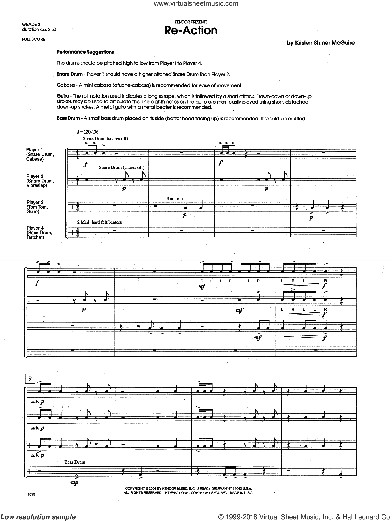 Re-Action (COMPLETE) sheet music for percussions by Kristen Shiner-McGuire, intermediate. Score Image Preview.