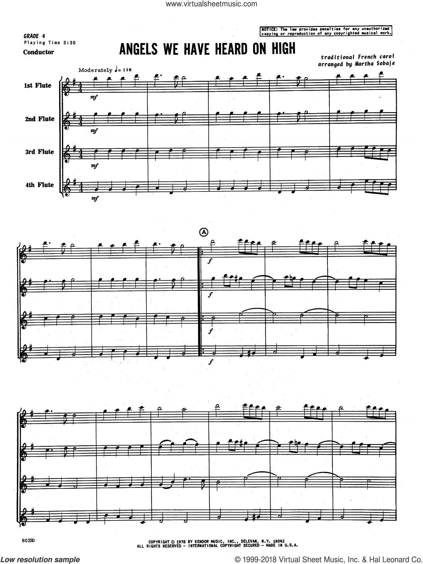 Angels We Have Heard on High (COMPLETE) sheet music for flute quartet by Sobaje, intermediate skill level