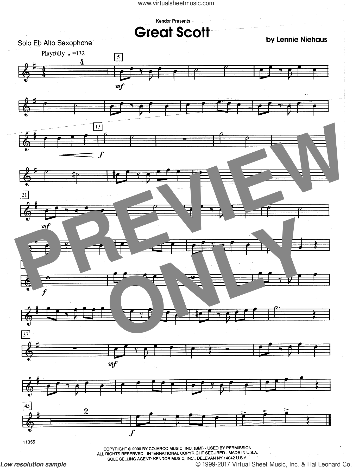 Great Scott (complete set of parts) sheet music for alto saxophone and piano by Lennie Niehaus, intermediate alto. Score Image Preview.