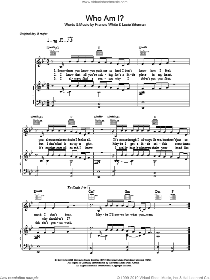 Who Am I sheet music for voice, piano or guitar by Lucie Silverman, Will Young and Francis White. Score Image Preview.