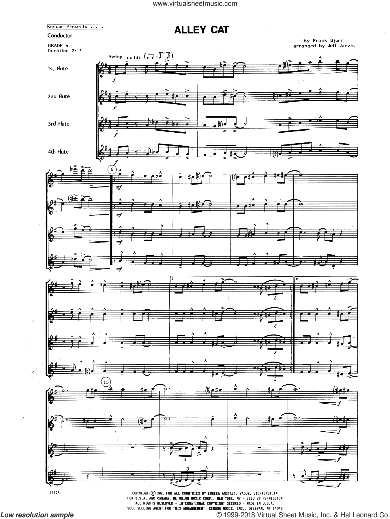 Alley Cat (COMPLETE) sheet music for flute quartet by Jeff Jarvis, intermediate flute quartet. Score Image Preview.