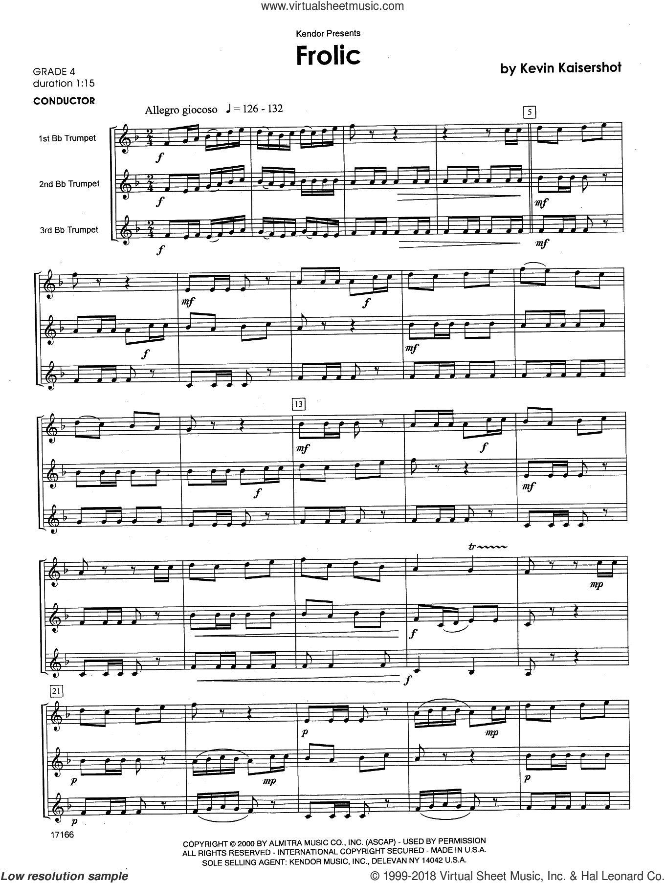 Frolic (COMPLETE) sheet music for trumpet trio by Kaisershot and Kevin Kaisershot, intermediate skill level