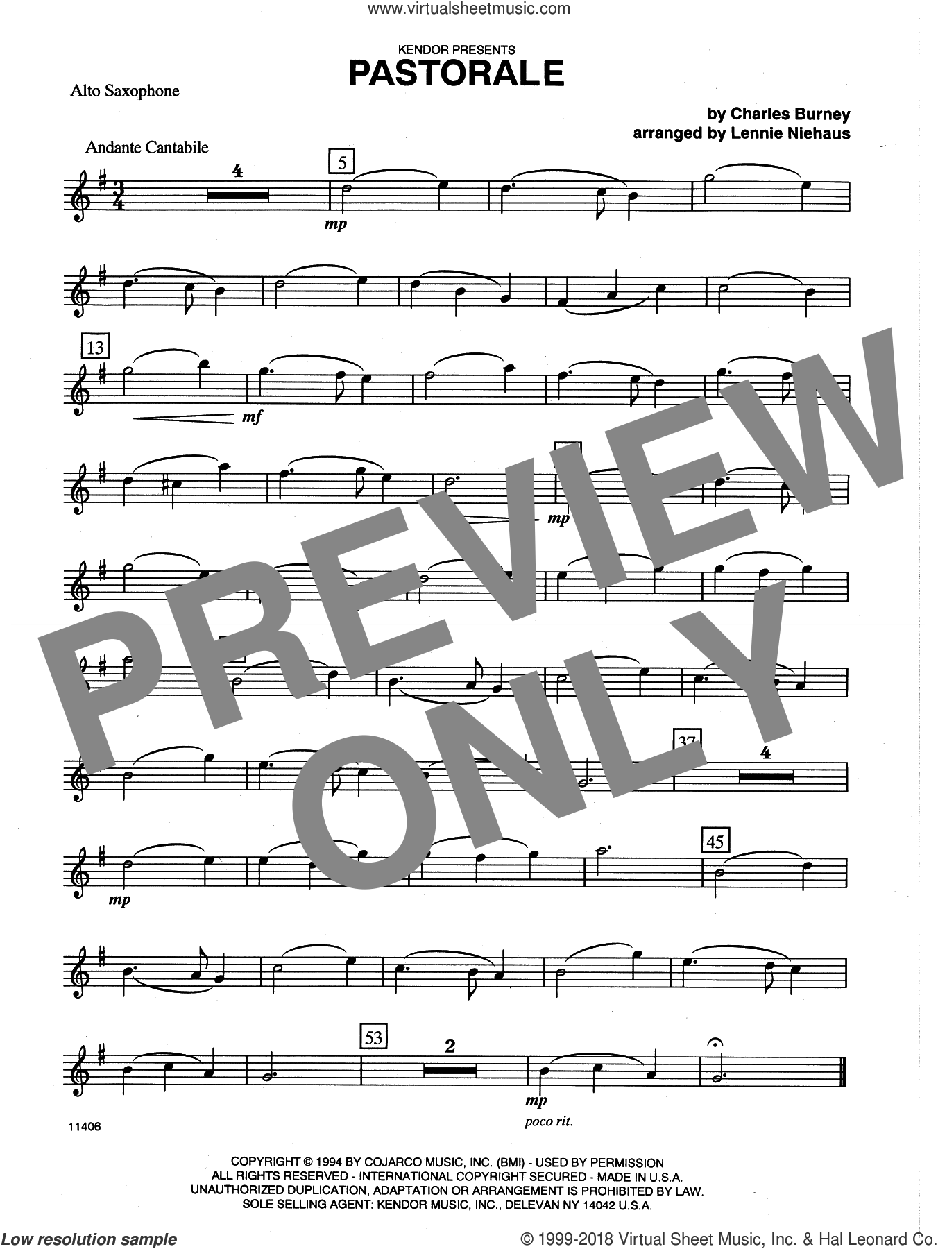 Pastorale (complete set of parts) sheet music for alto saxophone and piano by Lennie Niehaus and Burney, intermediate skill level
