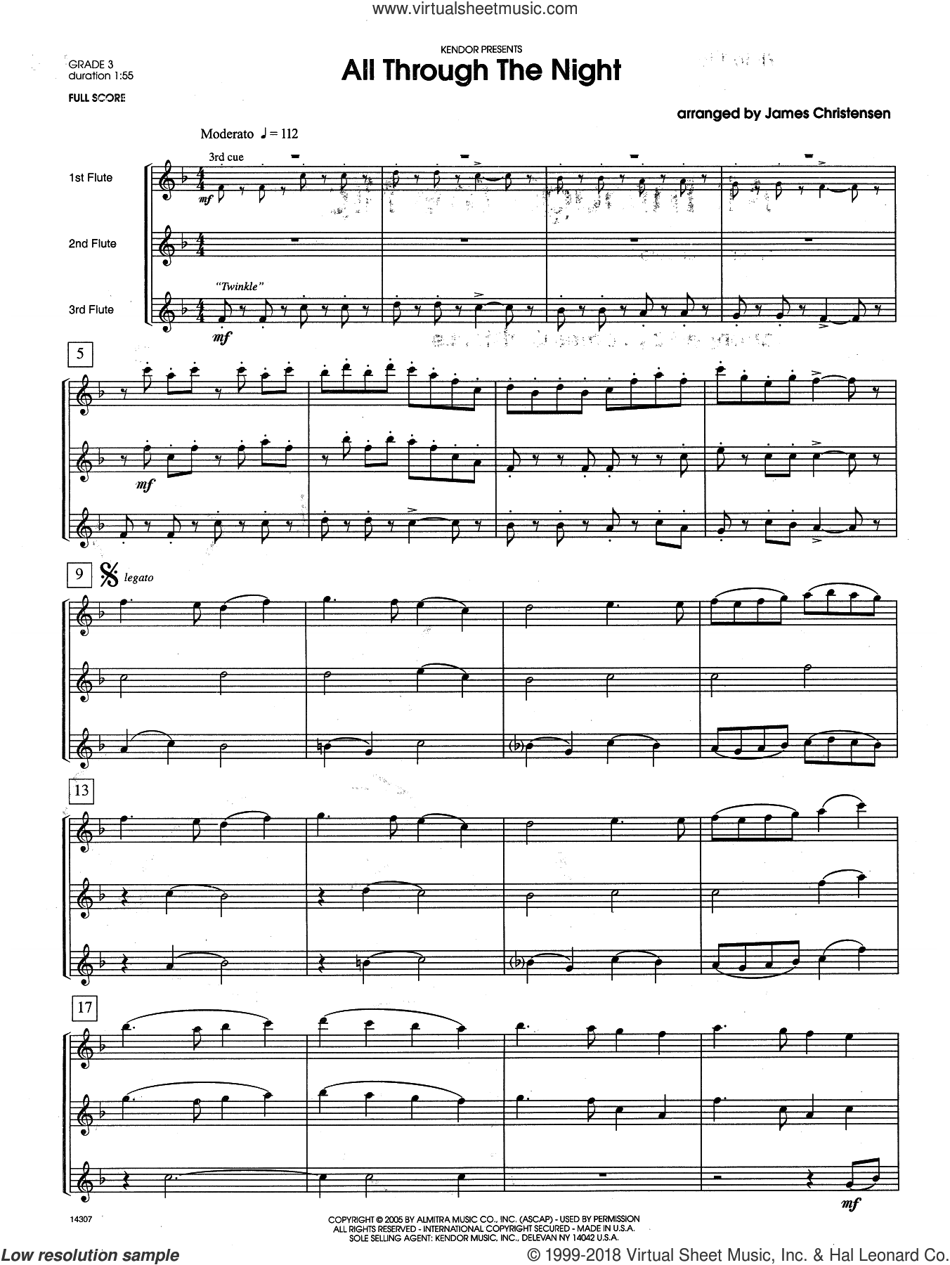 All Through the Night (COMPLETE) sheet music for flute quartet by James Christensen, intermediate skill level