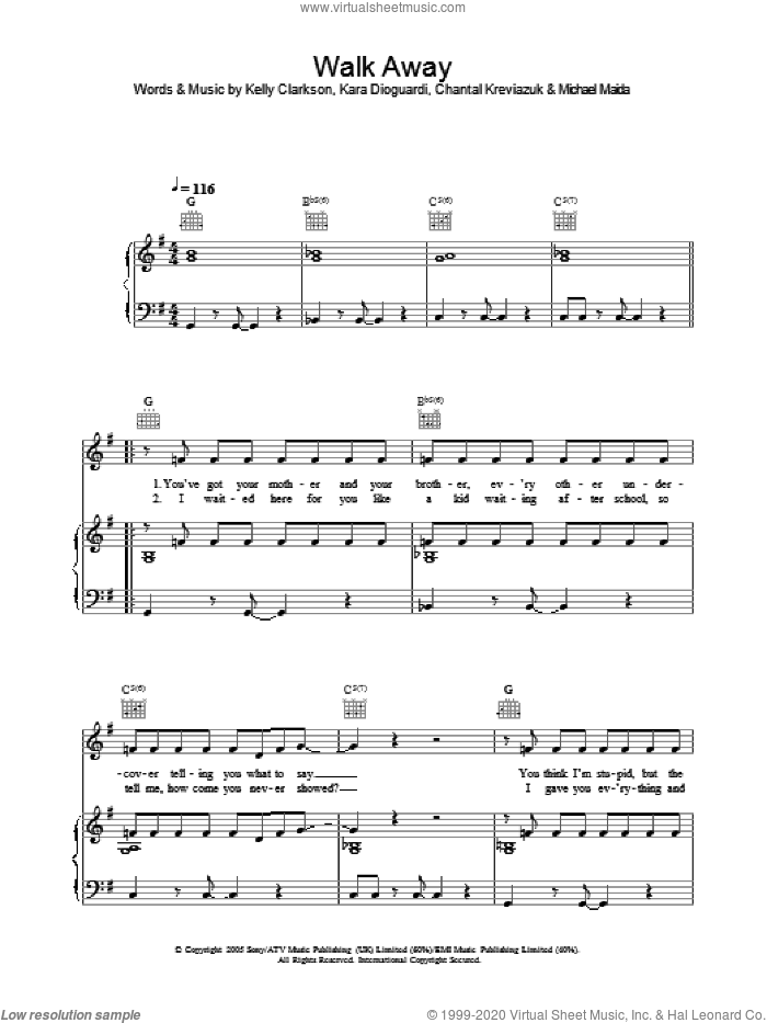 Walk Away sheet music for voice, piano or guitar by Michael Maida, Kelly Clarkson, Chantal Kreviazuk and Kara DioGuardi. Score Image Preview.