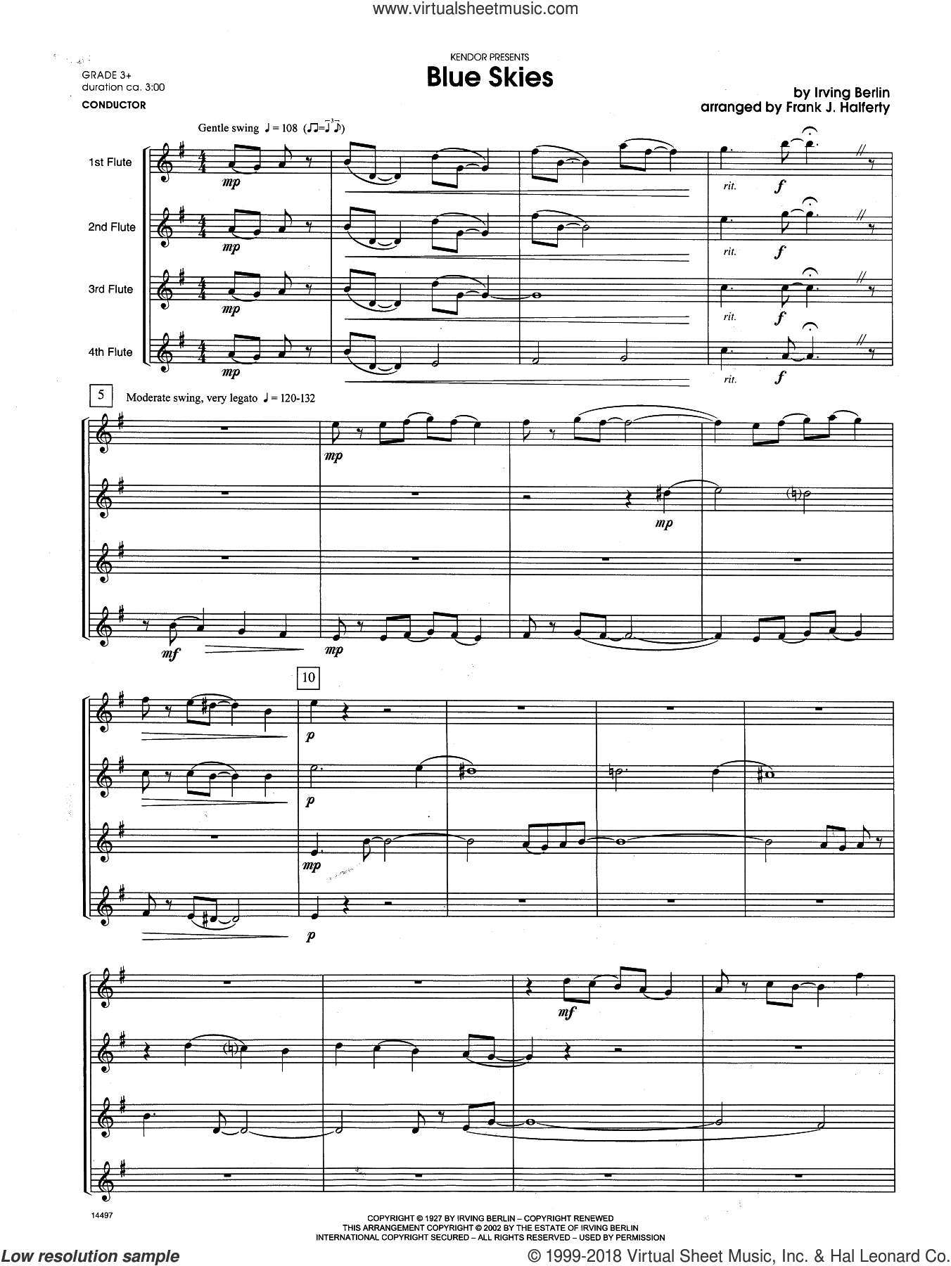 Blue Skies (COMPLETE) sheet music for flute quartet by Irving Berlin and Frank J. Halferty, intermediate skill level
