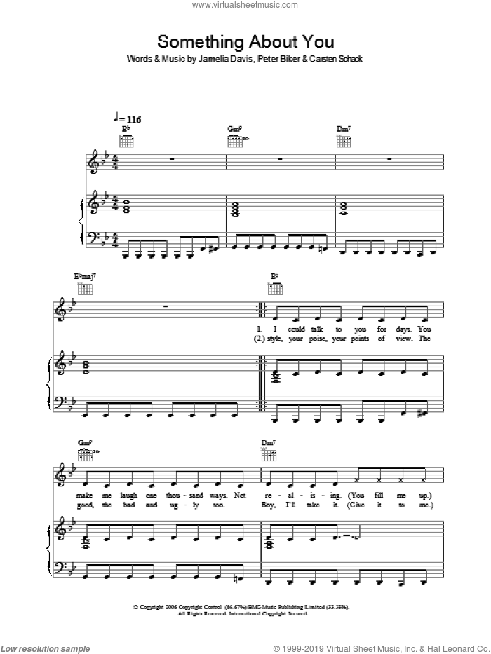 Something About You sheet music for voice, piano or guitar by Jamelia. Score Image Preview.