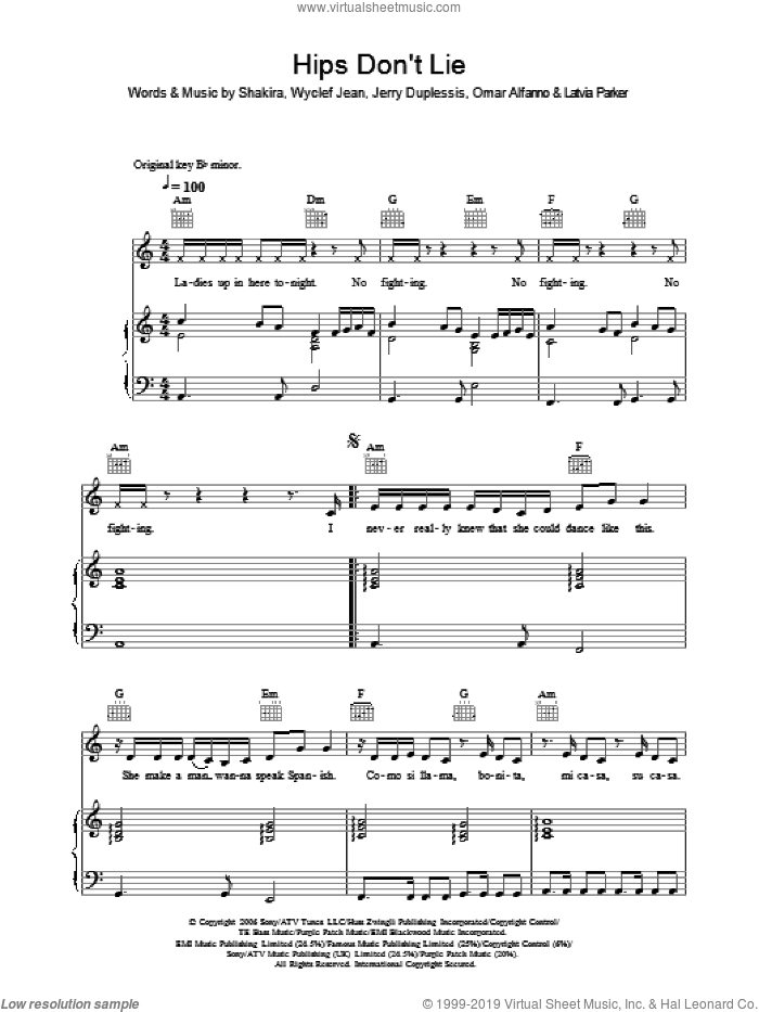 Hips Don't Lie sheet music for voice, piano or guitar by Shakira, Jerry Duplessis, Latvia Parker, Omar Alfanno and Wyclef Jean, intermediate skill level