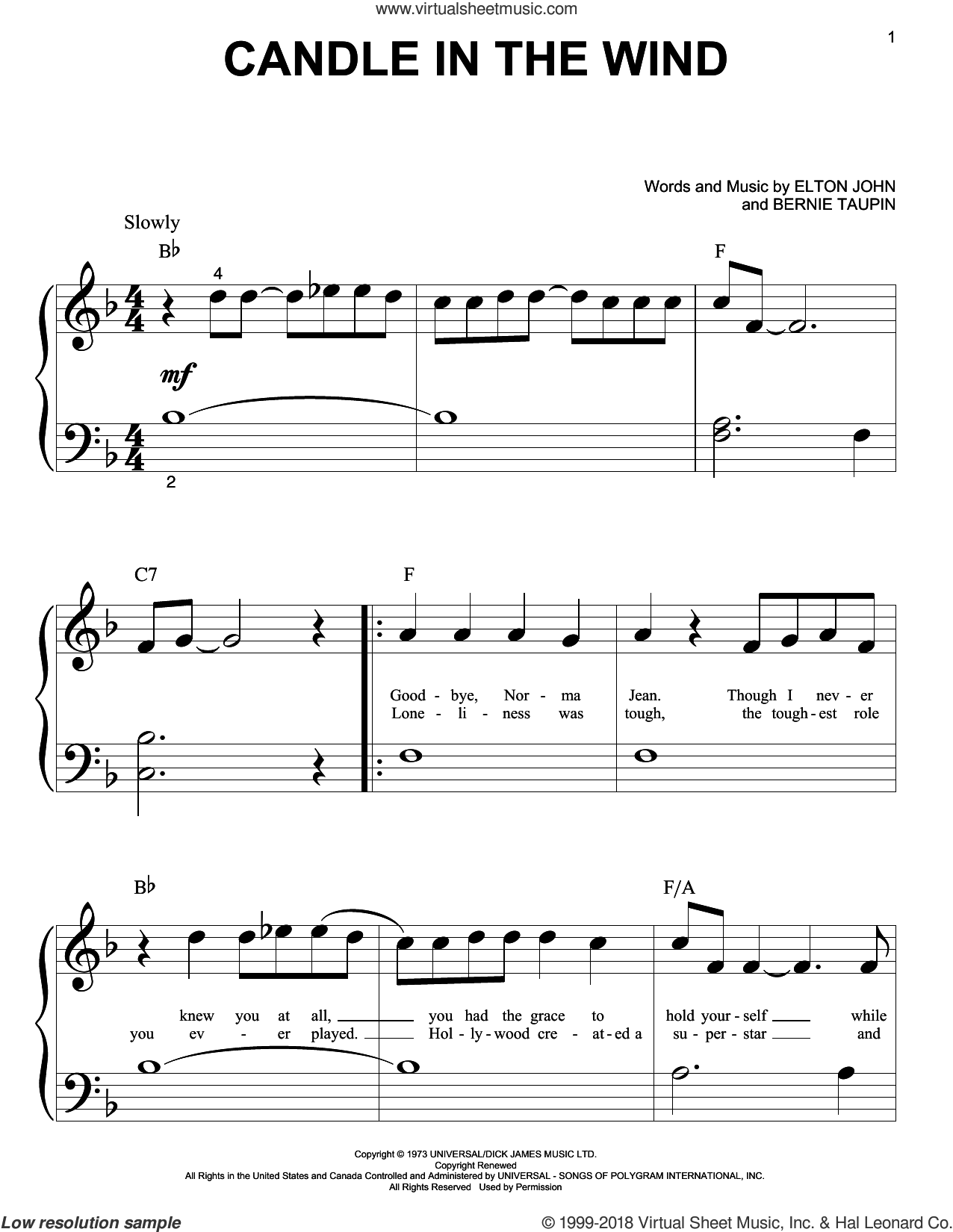 Candle In The Wind sheet music for piano solo (big note book) by Bernie Taupin and Elton John. Score Image Preview.