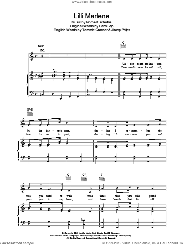 Lilli Marlene sheet music for voice, piano or guitar by Norbert Schultze, intermediate skill level