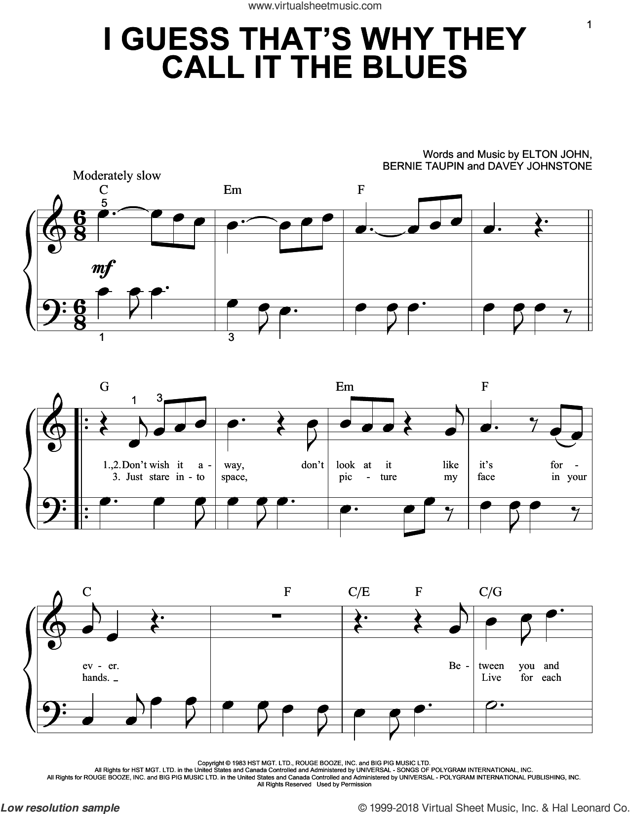 I Guess That's Why They Call It The Blues sheet music for piano solo (big note book) by Davey Johnstone, Bernie Taupin and Elton John. Score Image Preview.