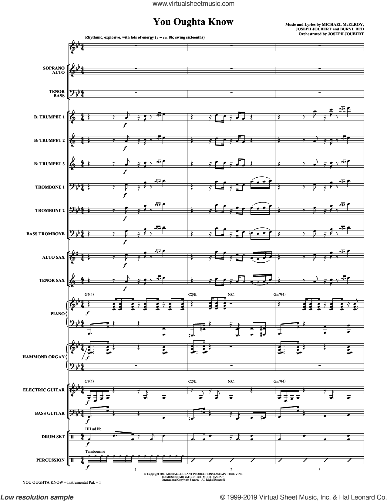 You Oughta Know (COMPLETE) sheet music for orchestra/band (Orchestra) by Buryl Red, Joseph Joubert and Michael McElroy, intermediate skill level