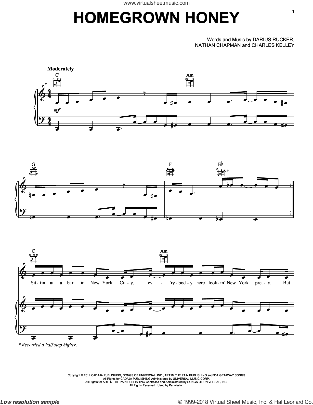 Homegrown Honey sheet music for voice, piano or guitar by Darius Rucker, Charles Kelley and Nathan Chapman, intermediate skill level