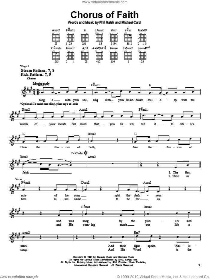 Chorus Of Faith sheet music for guitar solo (chords) by Michael Card, easy guitar (chords). Score Image Preview.