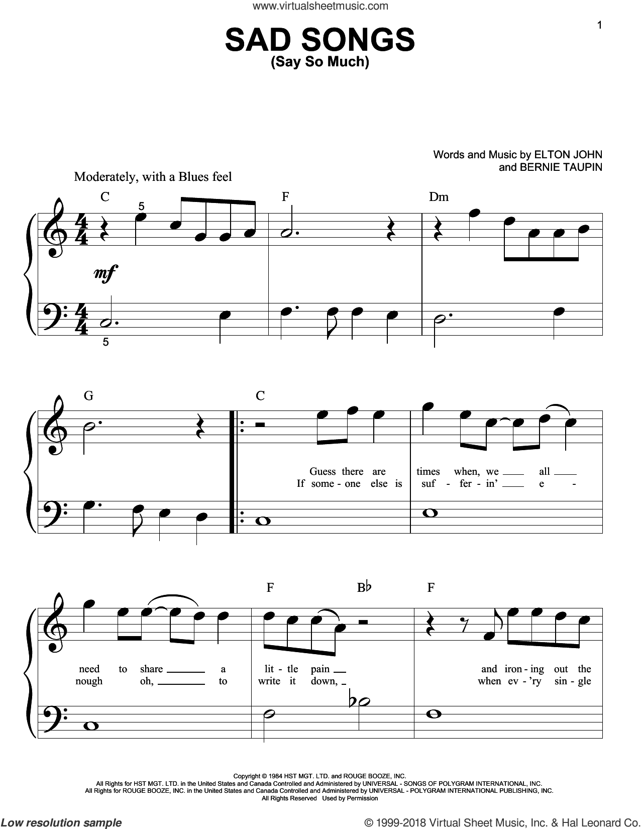 Sad Songs (Say So Much) sheet music for piano solo (big note book) by Elton John and Bernie Taupin, easy piano (big note book)