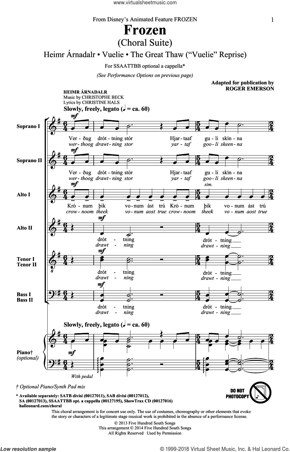 Frozen (Choral Suite) sheet music for choir (SATB: soprano, alto, tenor, bass) by Roger Emerson, Christine Hals and Christophe Beck, intermediate. Score Image Preview.