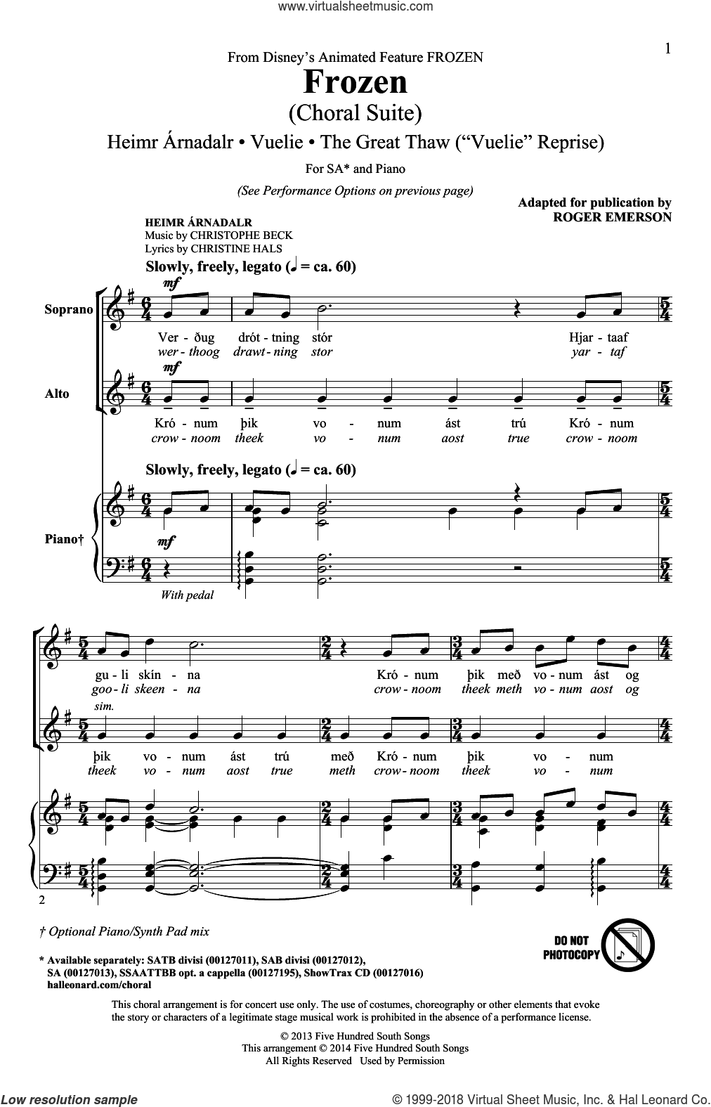 Frozen (Choral Suite) sheet music for choir (2-Part) by Roger Emerson, Christine Hals and Christophe Beck, intermediate duet. Score Image Preview.