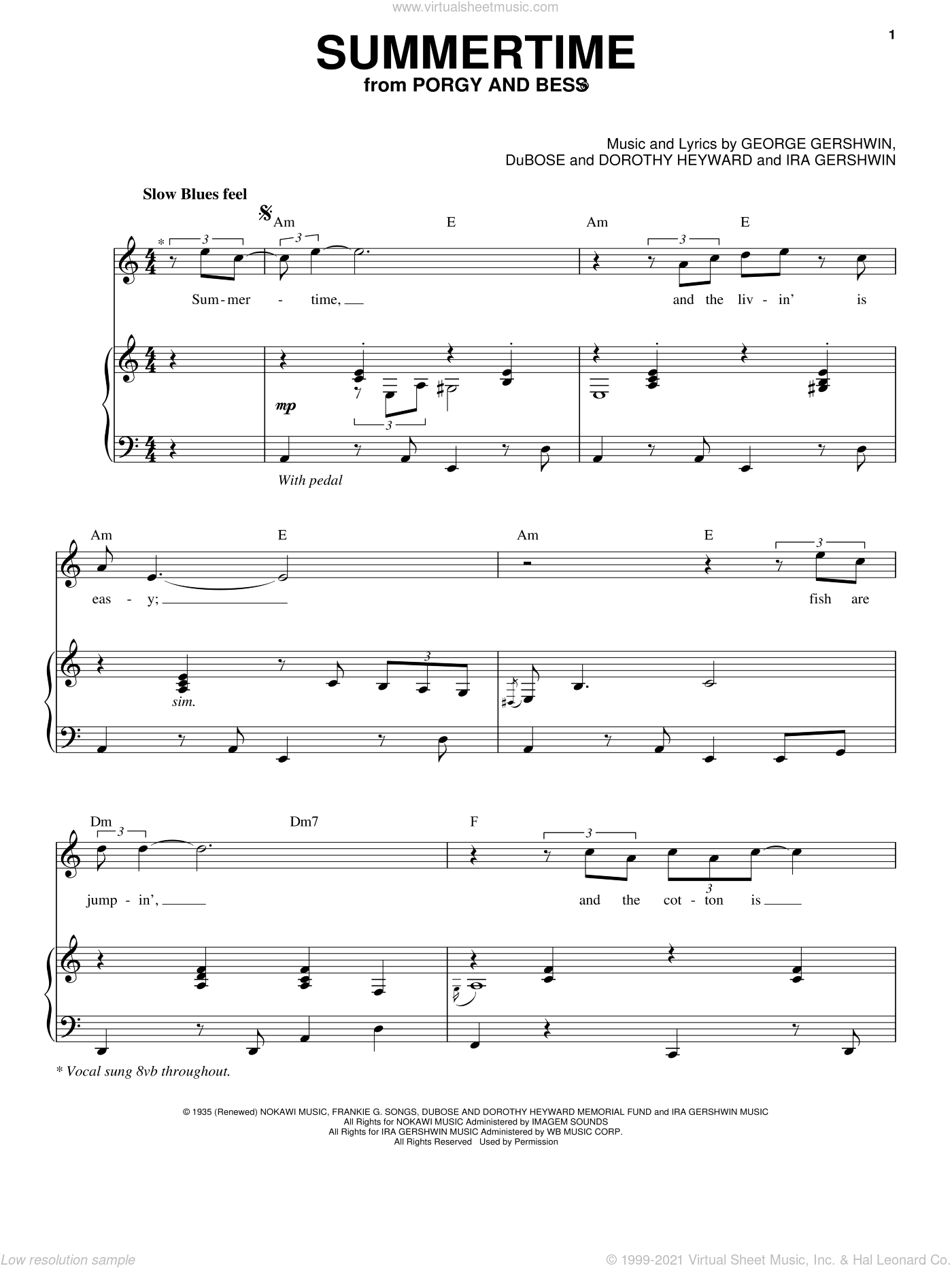 Summertime sheet music for voice and piano by George Gershwin, Dorothy Heyward, DuBose Heyward and Ira Gershwin, intermediate skill level