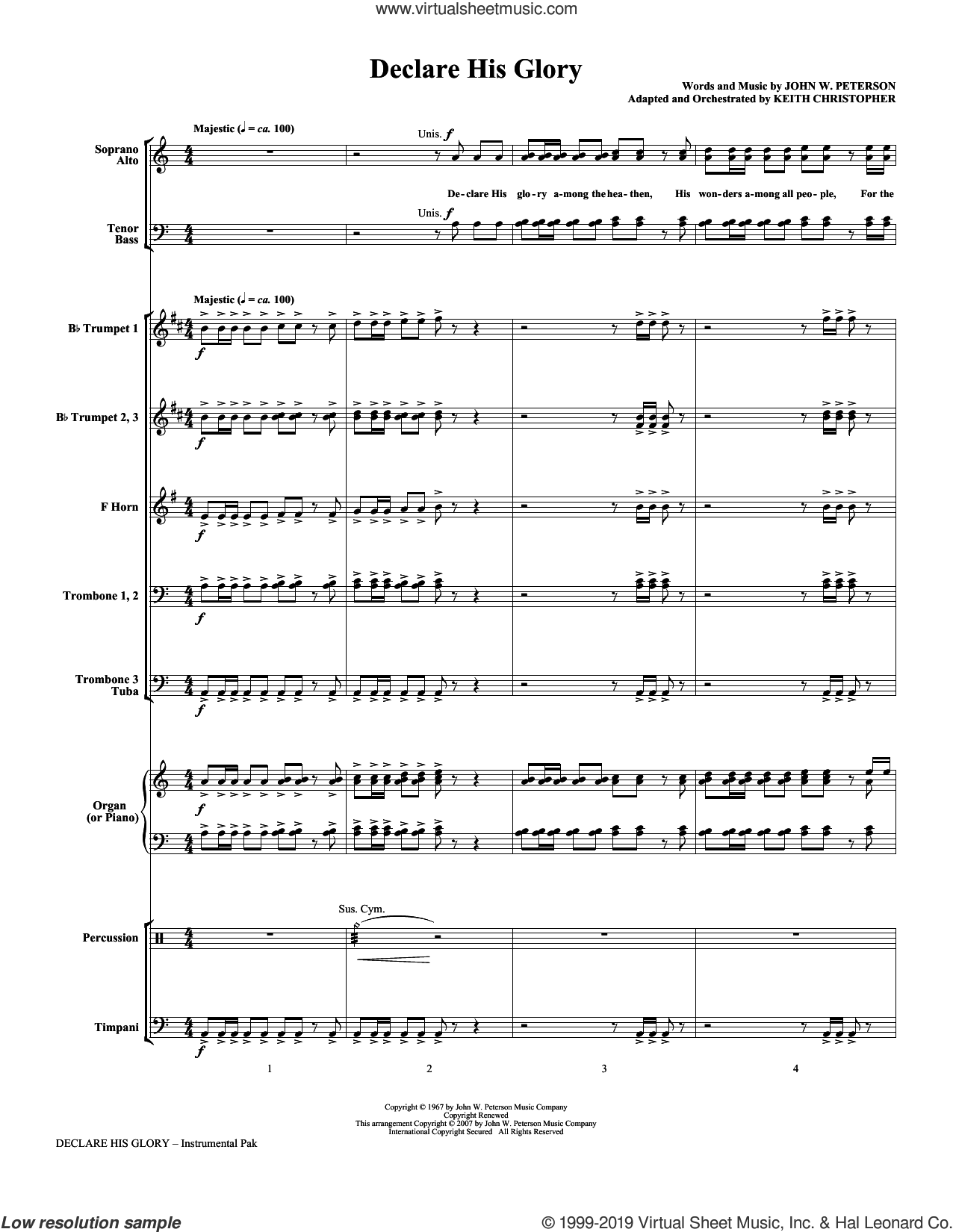 Declare His Glory (COMPLETE) sheet music for orchestra/band (Brass) by Keith Christopher and John W. Peterson, intermediate skill level