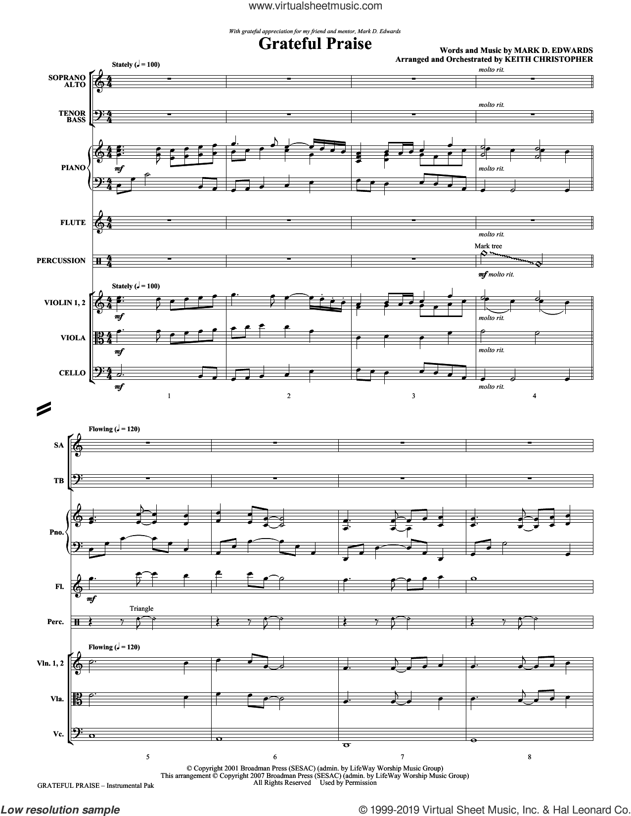 Grateful Praise (COMPLETE) sheet music for orchestra/band (chamber ensemble) by Mark Hayes, Keith Christopher, Mark D. Edwards and Mark Edwards, intermediate skill level