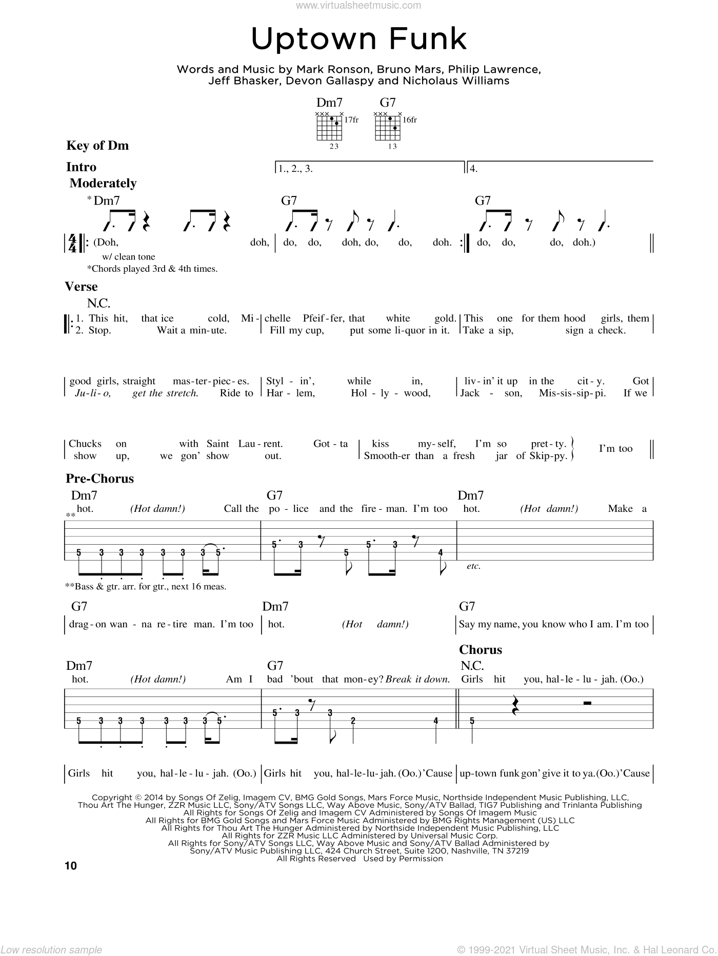 Uptown Funk sheet music for guitar solo (lead sheet) by Philip Lawrence, Bruno Mars, Devon Gallaspy, Jeff Bhasker and Mark Ronson. Score Image Preview.