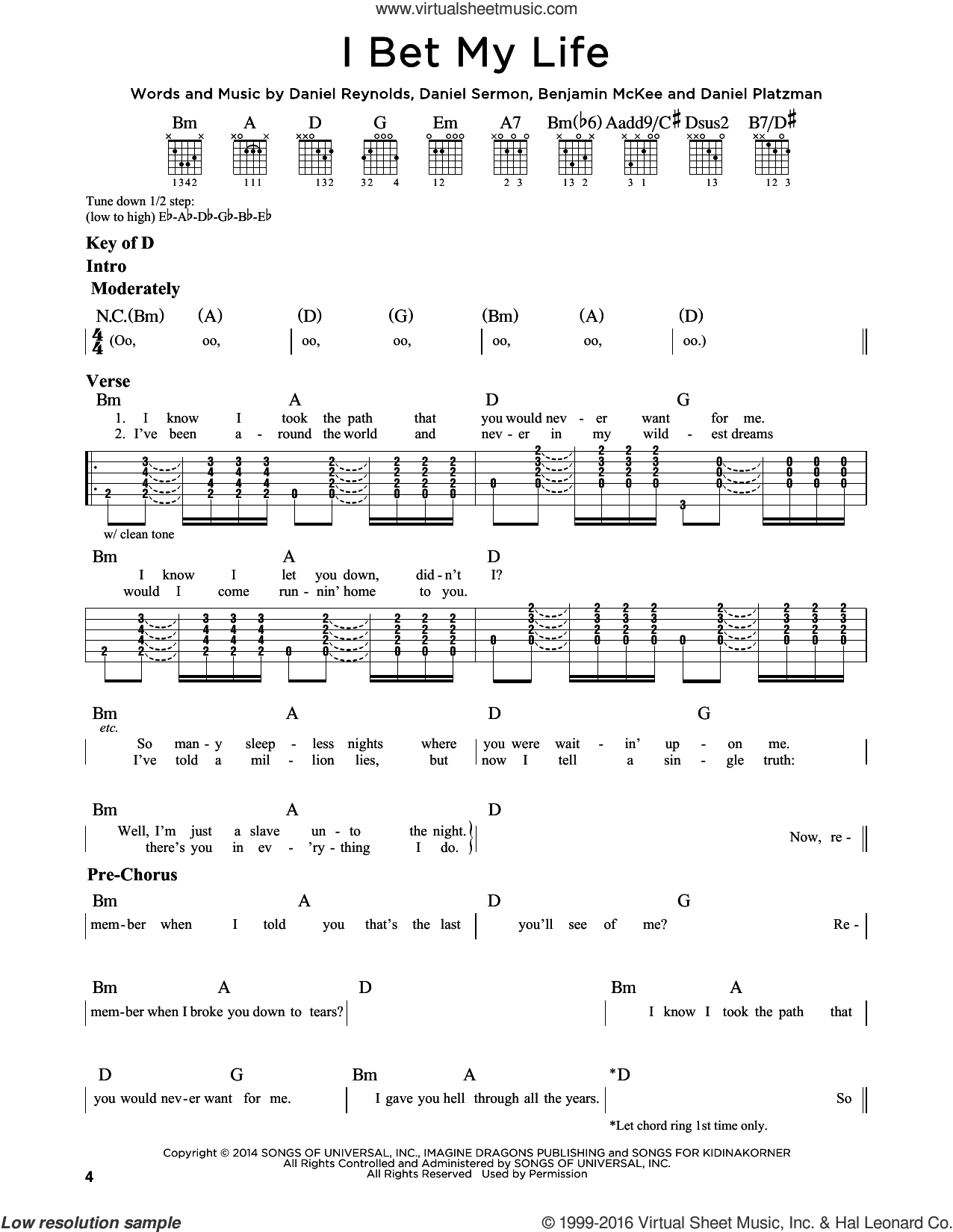 I Bet My Life sheet music for guitar solo (lead sheet) by Daniel Sermon, Imagine Dragons and Daniel Reynolds. Score Image Preview.