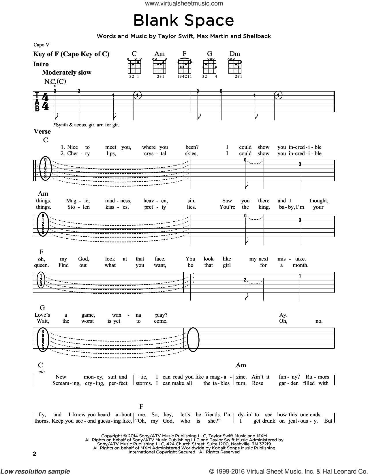 Blank Space sheet music for guitar solo (lead sheet) by Taylor Swift, Johan Schuster, Max Martin and Shellback, intermediate guitar (lead sheet)